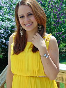 Melissa Mom with Style pairing her yellow dress with an antique gold The LookBook Store bracelet