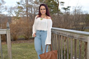 off the shoulder top and flare jeans