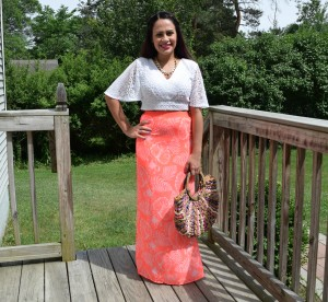 Melissa Mom with Style wearing a H & M Palm print maxi skirt with a white crop top from express