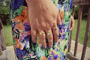 Melissa wearing a Jessica Simpson ThredUP and Charming Charlie rings
