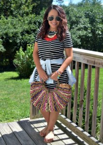 Melissa Mom with Style wearing a Bella V Mobile Boutique striped dress with a Loft denim tied top