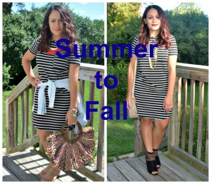 Melissa Mom with Style How to Transition Summer Pieces into Fall: Bella V Mobile boutique Striped Dress