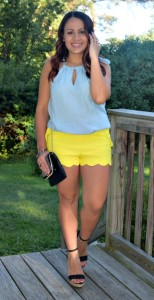 Melissa Mom with Style wearing a New York & Company keyhole denim top with yellow scalloped shorts and black Express wedges