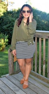 Melissa Mom with Style wearing a New York & Company wrap blouse with a ThredUp Forever 21 striped skirt and JustFab Flats