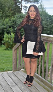 Melissa Mom with Style wearing a Bella V Mobile Boutique black lace dress with fringe JustFab fringe heels