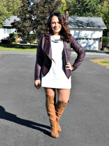 Melissa Mom with Style wearing a white charlotte Russe dress, Forever 21 over the knee boots and a wine moto jacket.