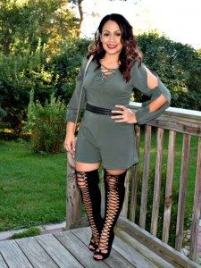 Melissa Mom with Style wearing a Target olive romper, paired with a Bella V Mobile Boutique and Express laceup peep toe