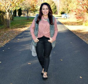 Melissa Mom with Style wearing a Bella V Mobile boutique tie knot top with leather pants and Charlotte Russe laceup flats