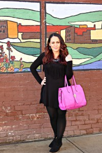 Melissa Mom with Style wearing a Bella V Mobile Boutique fringe black dress with footless stocking and Express booties