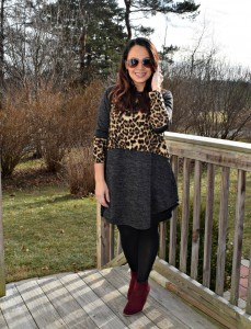Melissa Mom with Style wearing a Bella V Mobile Botuique animal print tunic with a Bumble Bee statement necklace and wine color booties