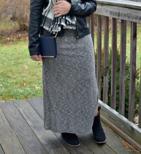 Melissa Mom with Style wearing a Who What Wear Target maxi dress with a plaid Target scarf and Express booties