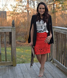 Melissa Mom with Style wearing a Forever 21 red, lace skirt with a Bella V Mobile Boutique graphic tee and cape blazer