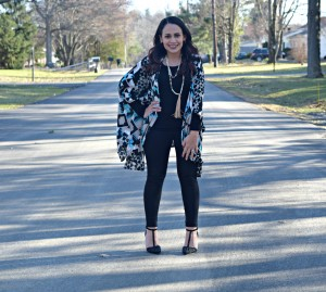 Melissa Mom with Style wearing a black Zara top, Black Bella V Mobile Boutique pants and tassel earings with a pair of French Connection stud pumps