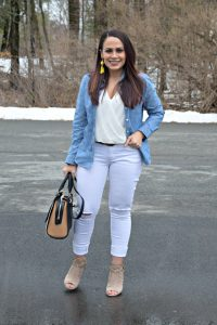 Melissa Mom with Style wearing white Express jeans, a white top from The LookBook Store and a denim button down Old Navy top