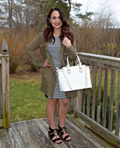 Melissa wearing spring stripe dress from TJ Maxx with a Belle V Mobile Boutique shirt dress and black Target lace up block heels