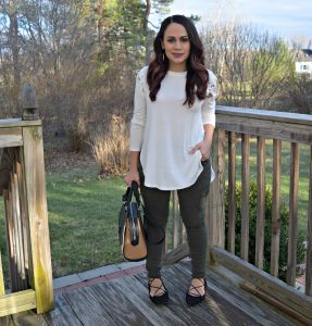 Melissa Mom with Style wearing a pair of utility pants from Target and a pair of Charlotte Russe lace up flats
