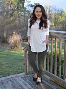 Melissa Mom with Style wearing a lace up shoulder top from Bella V Mobile Boutique paired with utility pants and lace up Charlotte Russe flats