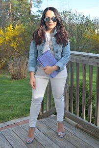 Melissa Mom with Style wearing a mesh white top from Target and a pair of LC blue heels