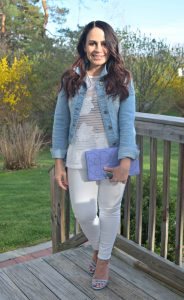 Melissa Mom with Style wearing a mesh Target floral top and a Bella V Mobile Boutique denim jacket