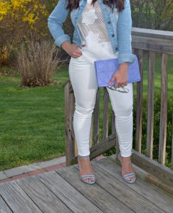 Melissa Mom with Style rocking a Danielle Nicole lavender clutch, Express white skinny jeans and a Bella V Mobile Boutique denim jacket