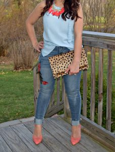 Melissa Mom with Style styling a denim on denim look with a NY & Comapny denim top paired with a pair of Express embroidered jeans and a Charming Charlietassel necklace