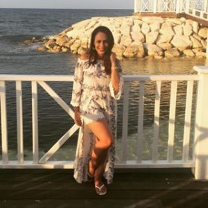 Melissa Mom with Style in a Bella V Mobile Boutique off the shoulder romper/maxi dress
