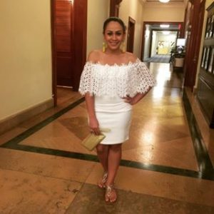 Melissa Mom with Style in a white Forever 21 off the shoulder dress and yellow tassel earrings