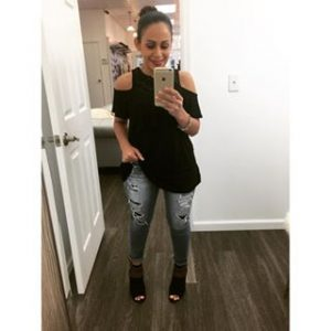 Melissa Mom with Style style the dress - jeans look with a black Bella V Mobile Boutique cold shoulder top and American Eagle distress jeans