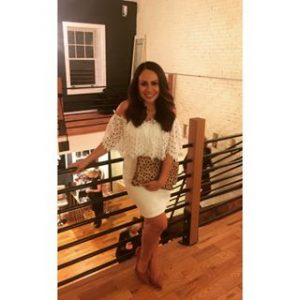 Meissa Mom with Style wearing an off the shoulder white Forever 21 dress