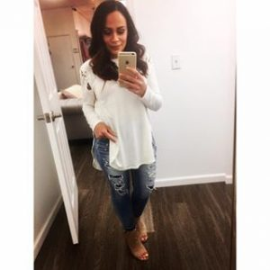 Melissa Mom with Style in a white lace up shoulder from Bella V Mobile Boutique and American Eagle distress jeans