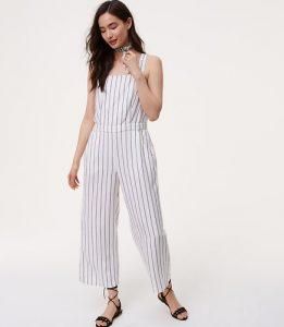 Melissa Mom with Style petite Loft stripe jumpsuit