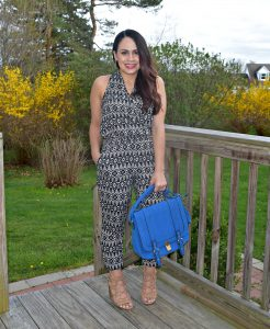 Melissa Mom with Style wearing a Loft petite print jumpsuit with nude Target gladiator heels