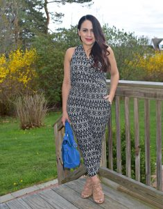 Melissa Mom with Style wearing a Loft petite print jumpsuit with nude and blue accessories
