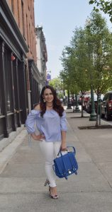 Melissa Mom with Style wearing a TJ Maxx stripe off the shoulder top and Bella V Mobile Boutique white jeans