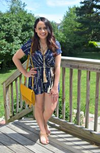 Melissa Mom with Style rocking the prefect arrow navy romper with a beaded tassel necklace from Bella V Mobile Boutique