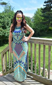 Melissa Mom with Style with her favorite printed maxi and a pair of color lenses sunnies