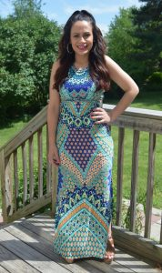 Melissa Mom with Style rocking a multi color print maxi dress from Bella V Mobile Boutique