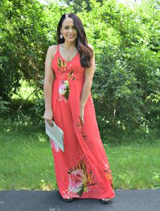Melissa Mom with Style rocking a red floral maxi dress with nude accessories
