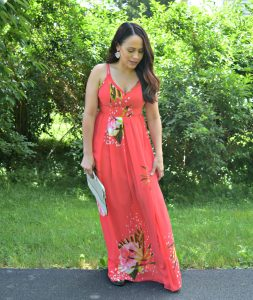 Melissa Mom with Style wearing a red floral Bella V Mobile Boutique maxi dress