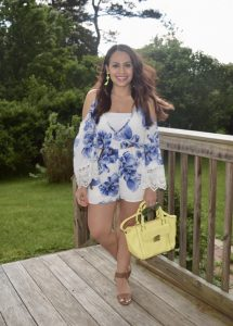 Melissa Mom with Style wearing a Bella V Mobile Boutique floral romper