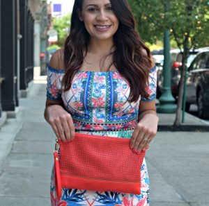 Melissa Mom with Style OTS dress and a coral crossbody bag