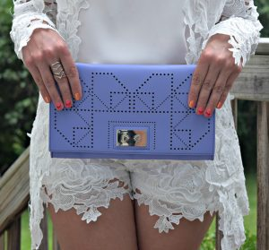 Melissa Mom with Style styling a lavender French Connection clutch with a Charming Charlie cocktail