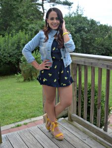 Melissa Mom with Style wearing a Bella V Mobile denim jacket and TJ Maxx navy lemon romper