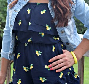 Melissa Mom with Style in her ruffle lemon romper