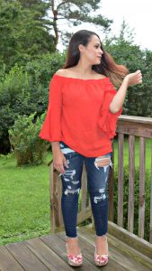 Melissa Mom with Style pairing her tomato red off the shoulder Forever 21 top with floral heels