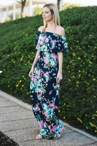 Melissa Mom with Style OTS floral blue maxi from Bella V Mobile Boutique $48