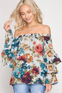 Melissa Mom with Style fall wishlist Bella V Mobile Boutique dark floral off the shoulder top