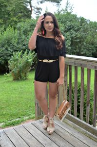 Melissa Mom with Style with an off the shoulder romper, tassel earrings and crochet wedges and bag