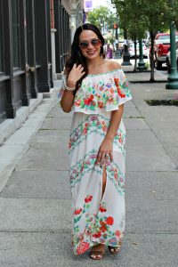 Melissa Mom with Style wearing an off the shoulder floral summer dress