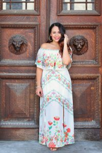 Melissa Mom with Style styling her ivory maxi with a coral lip
